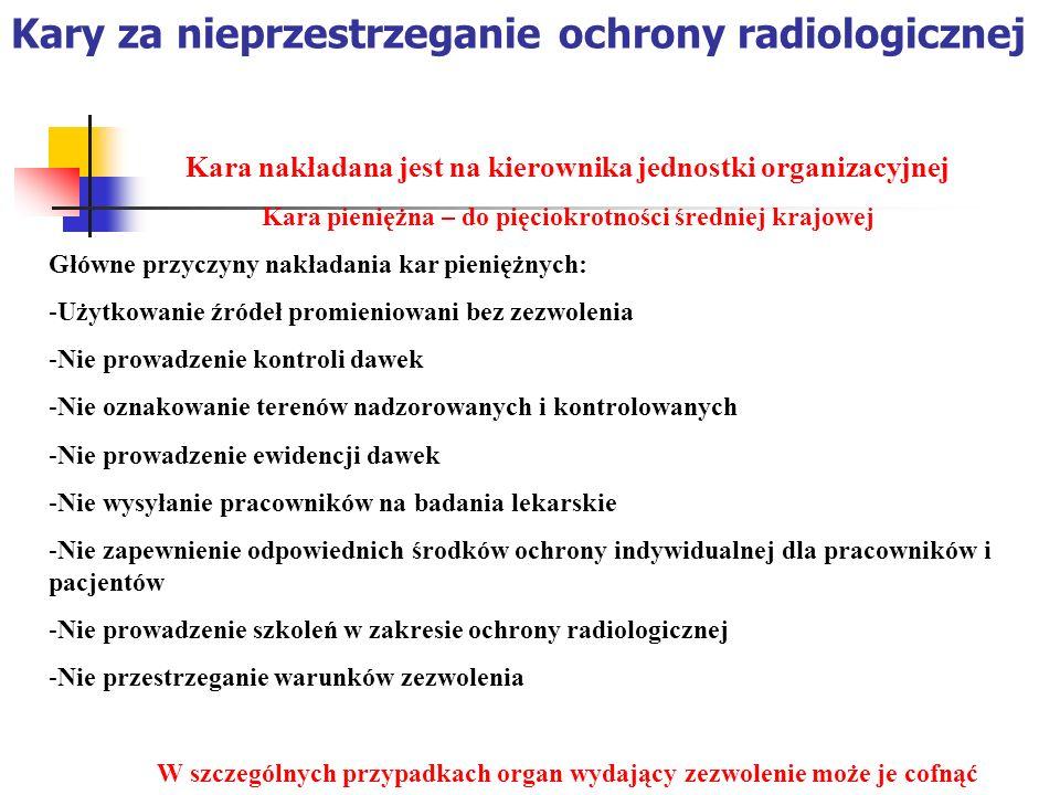 Kary za nieprzestrzeganie ochrony radiologicznej Kara nakładana jest na kierownika jednostki organizacyjnej Kara pieniężna – do pięciokrotności średni