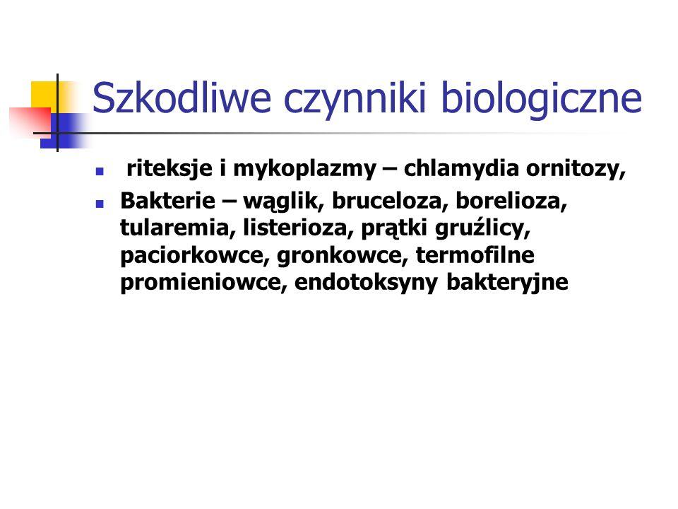 Szkodliwe czynniki biologiczne riteksje i mykoplazmy – chlamydia ornitozy, Bakterie – wąglik, bruceloza, borelioza, tularemia, listerioza, prątki gruź