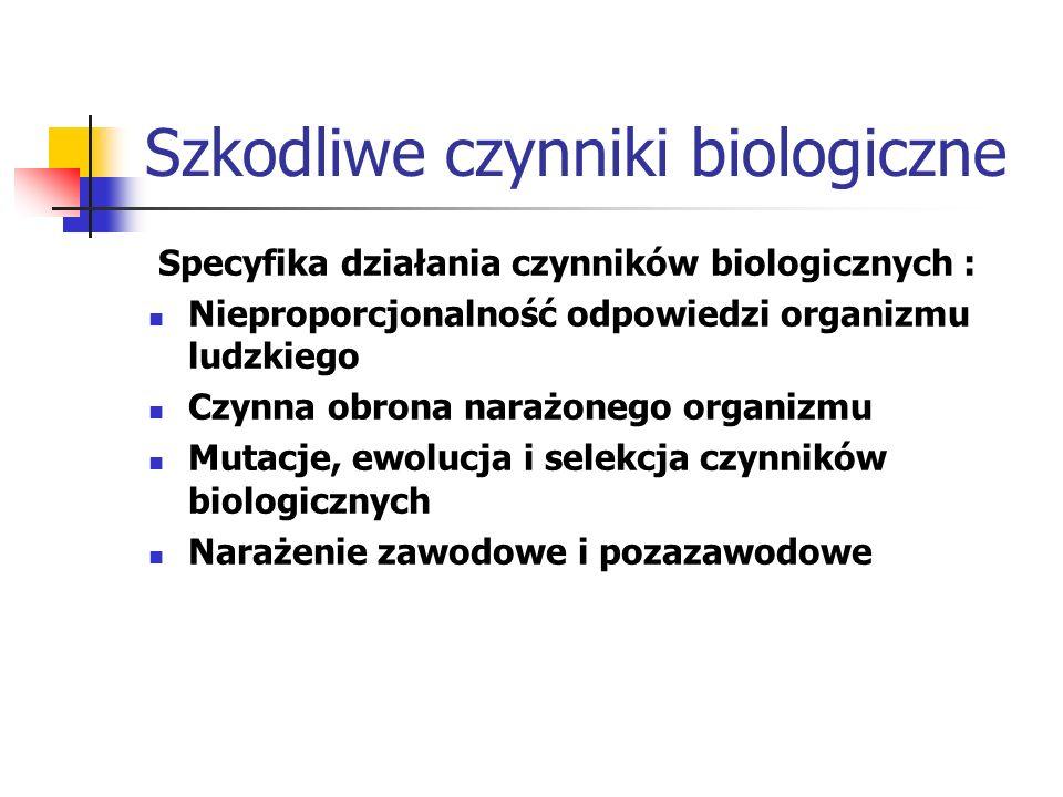 Szkodliwe czynniki biologiczne Specyfika działania czynników biologicznych : Nieproporcjonalność odpowiedzi organizmu ludzkiego Czynna obrona narażone