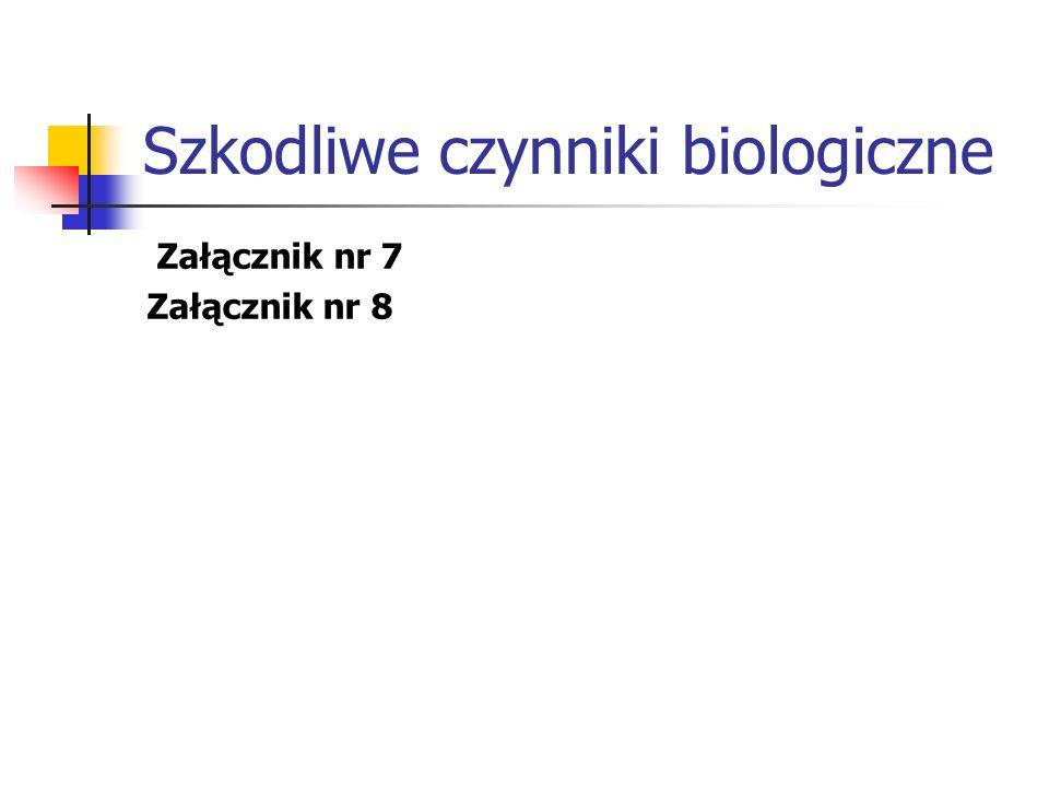 Szkodliwe czynniki biologiczne Załącznik nr 7 Załącznik nr 8