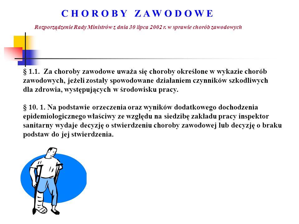 C H O R O B Y Z A W O D O W E Rozporządzenie Rady Ministrów z dnia 30 lipca 2002 r. w sprawie chorób zawodowych § 1.1. Za choroby zawodowe uważa się c