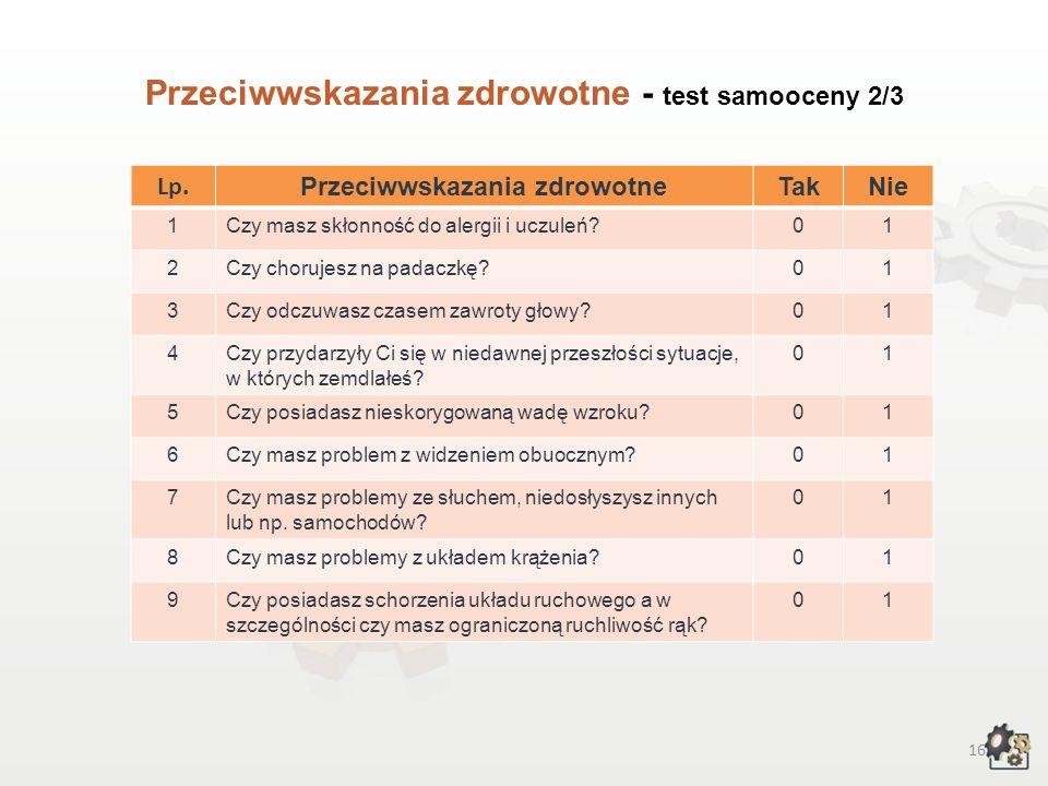 15 Przeciwwskazania zdrowotne Decydując się na podjęcie pracy w zawodzie technik poligraf, powinniśmy także wziąć pod uwagę przeciwwskazania zdrowotne