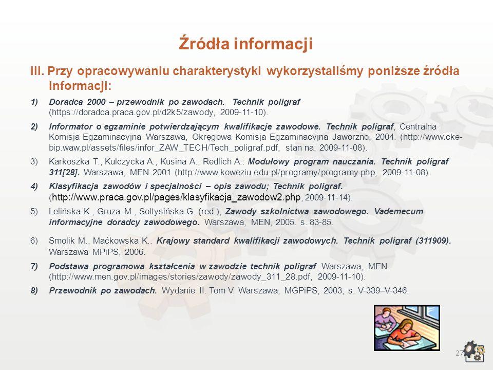 I. Książki: 1.Bann D. (2008): Poligrafia - Praktyczny przewodnik. ABE Dom Wydawniczy 2.Cichocki L., Pawlicki T., Ruczka I. (1999): Poligraficzny słown