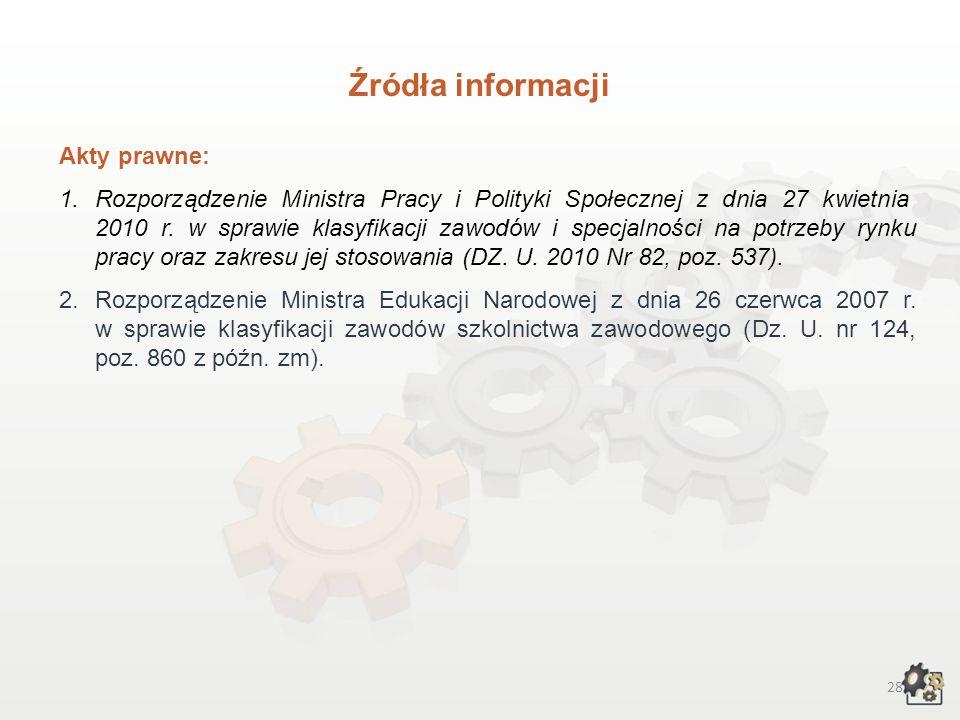 27 III. Przy opracowywaniu charakterystyki wykorzystaliśmy poniższe źródła informacji: 1)Doradca 2000 – przewodnik po zawodach. Technik poligraf (http
