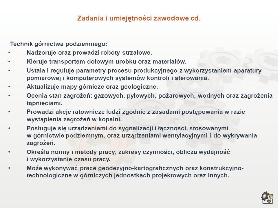 Zadania i umiejętności zawodowe cd.