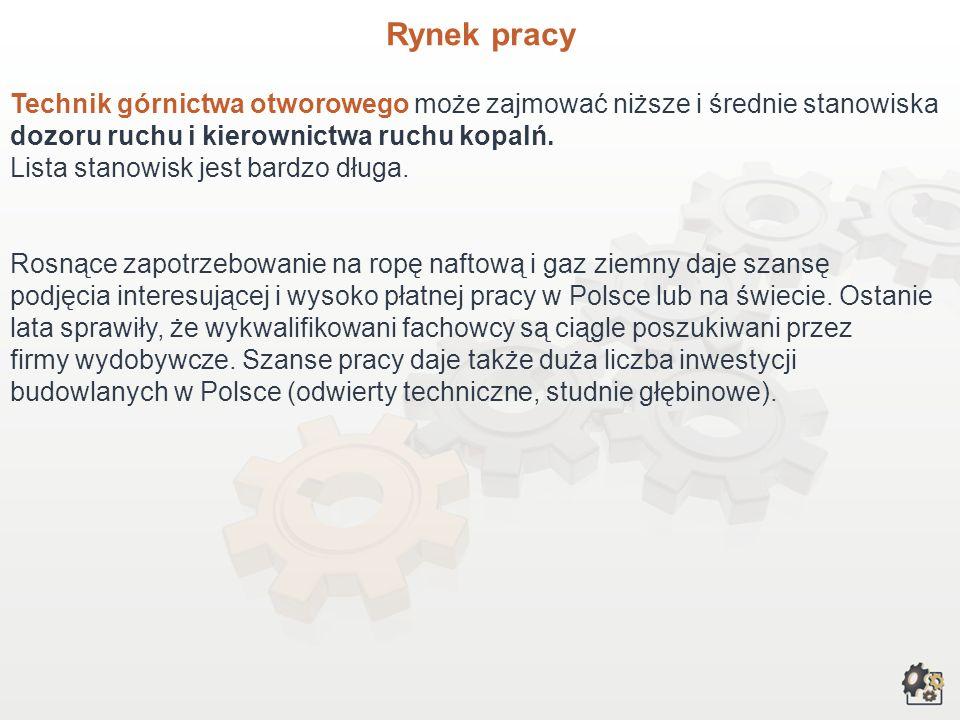 Rynek pracy Rosnące zapotrzebowanie na ropę naftową i gaz ziemny daje szansę podjęcia ciekawej i wysoko płatnej pracy w Polsce lub na świecie. Wykwali