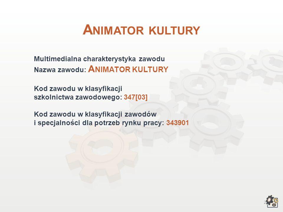 22 Kształcenie w zawodzie Praca własna… 1.Poszukaj w najbliższej okolicy adresów szkół policealnych, w których możesz podjąć naukę w zawodzie animatora kultury.