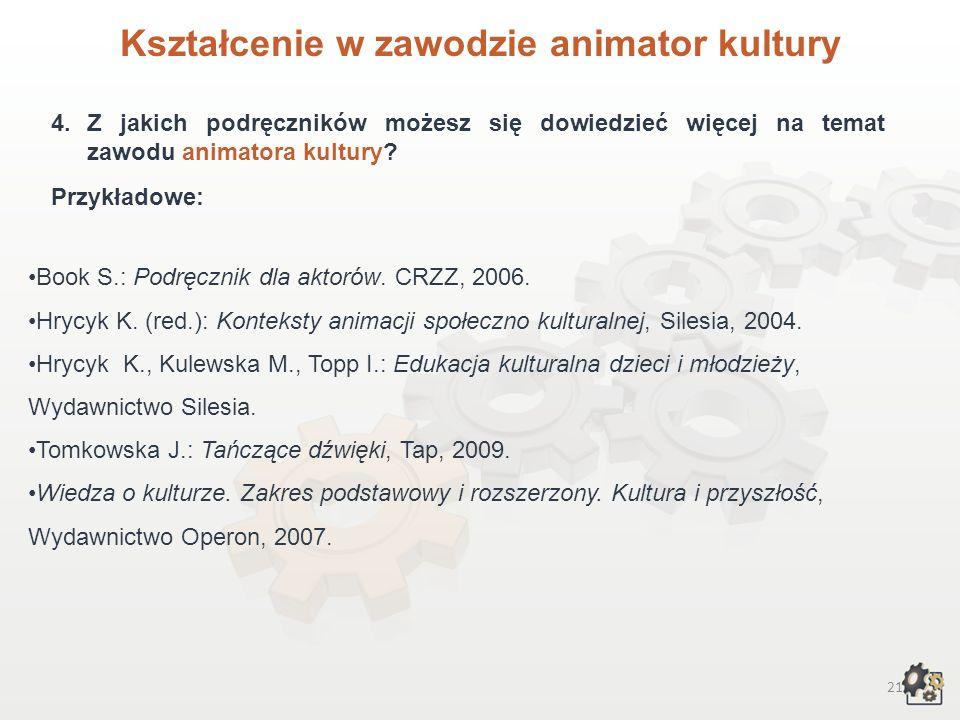 20 Kształcenie w zawodzie animatora kultury 3.3. Specjalizacje obejmują: 3.3.1.Animację społeczności lokalnych (poznawanie środowiska lokalnego, dynam