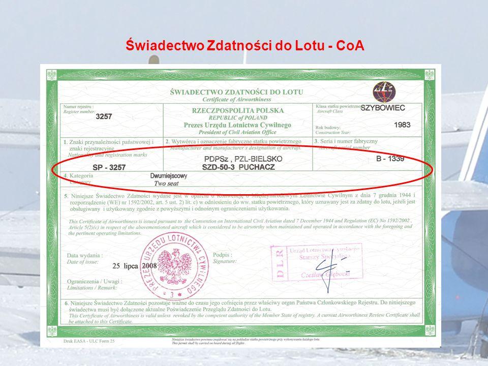 Świadectwo Zdatności do Lotu - CoA