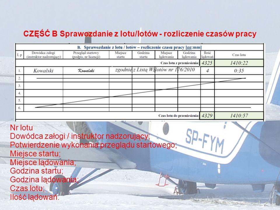 CZĘŚĆ B Sprawozdanie z lotu/lotów - rozliczenie czasów pracy Nr lotu Dowódca załogi / instruktor nadzorujący; Potwierdzenie wykonania przeglądu starto