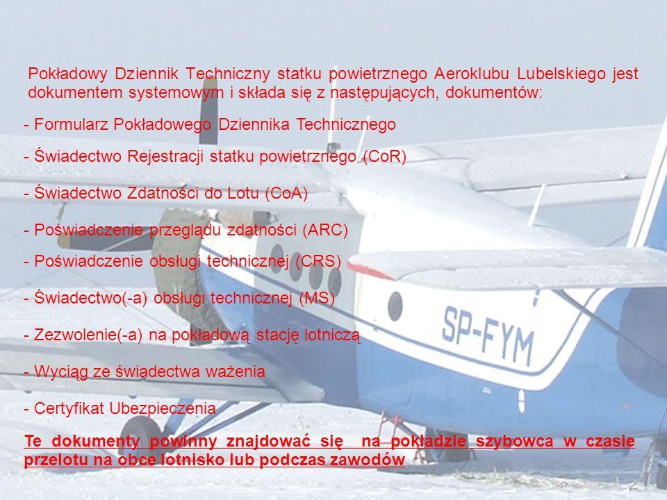 Pokładowy Dziennik Techniczny statku powietrznego Aeroklubu Lubelskiego jest dokumentem systemowym i składa się z następujących, dokumentów: - Formula