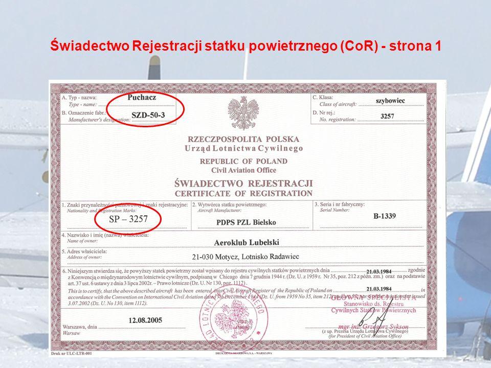 Świadectwo Rejestracji statku powietrznego (CoR) - strona 1