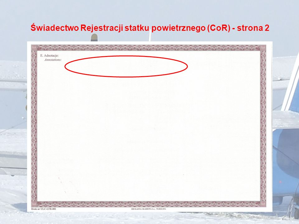 Świadectwo Rejestracji statku powietrznego (CoR) - strona 2
