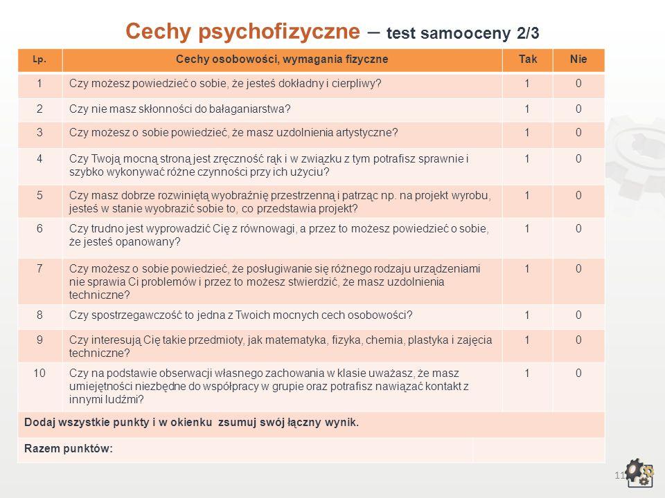 10 Cechy psychofizyczne Test samooceny 1/3 Decydując się na podjęcie pracy w zawodzie złotnika-jubilera, powinniśmy przede wszystkim wziąć pod uwagę s