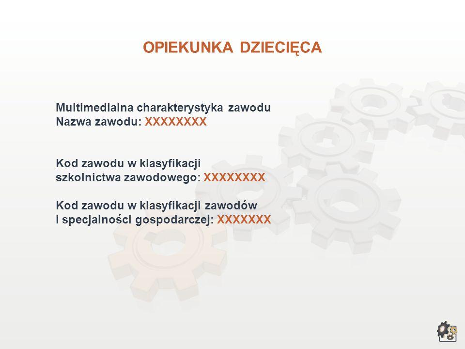 OPIEKUNKA DZIECIĘCA Multimedialna charakterystyka zawodu Nazwa zawodu: XXXXXXXX Kod zawodu w klasyfikacji szkolnictwa zawodowego: XXXXXXXX Kod zawodu w klasyfikacji zawodów i specjalności gospodarczej: XXXXXXX