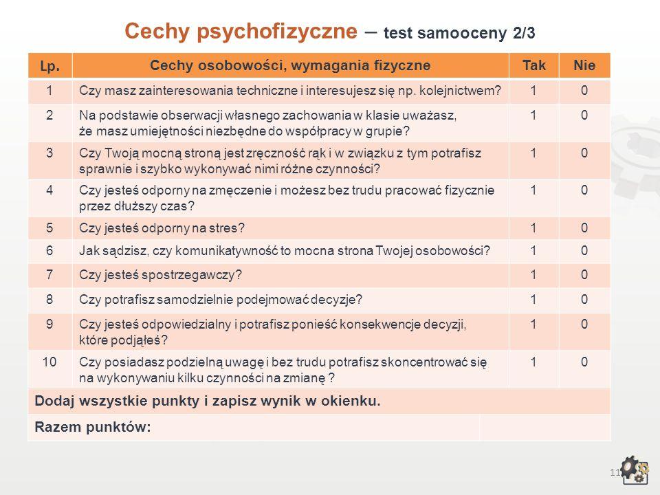 10 Cechy psychofizyczne Test samooceny 1/3 Decydując się na podjęcie pracy w zawodzie technik transportu kolejowego, powinniśmy przede wszystkim wziąć
