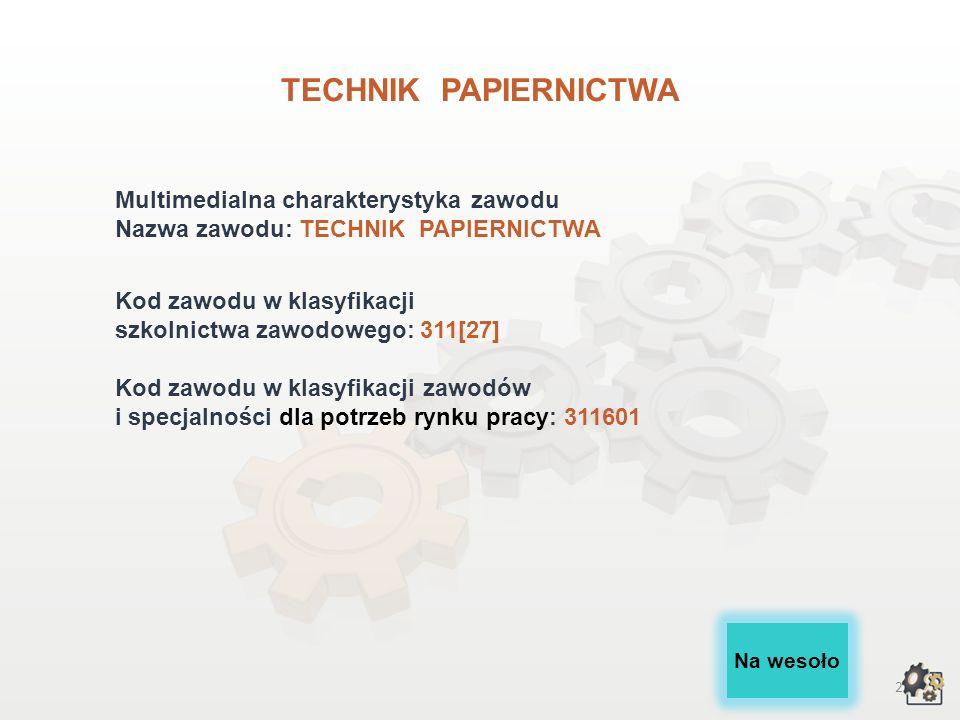 TECHNIK PAPIERNICTWA wersja dla gimnazjum i szkół ponadgimnazjalnych