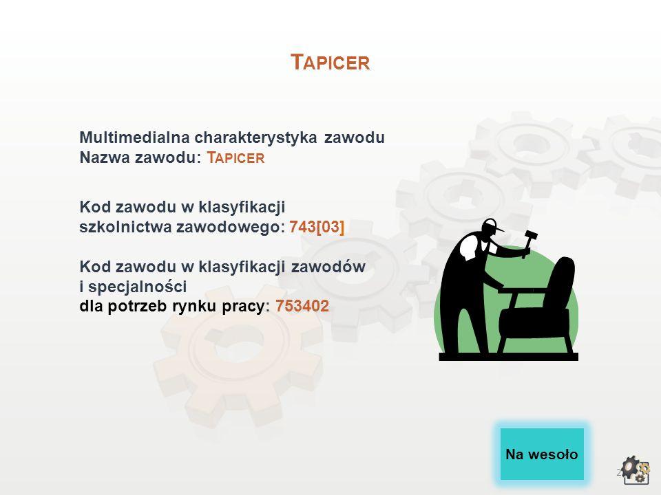 2 T APICER Multimedialna charakterystyka zawodu Nazwa zawodu: T APICER Kod zawodu w klasyfikacji szkolnictwa zawodowego: 743[03] Kod zawodu w klasyfikacji zawodów i specjalności dla potrzeb rynku pracy: 753402 Na wesoło