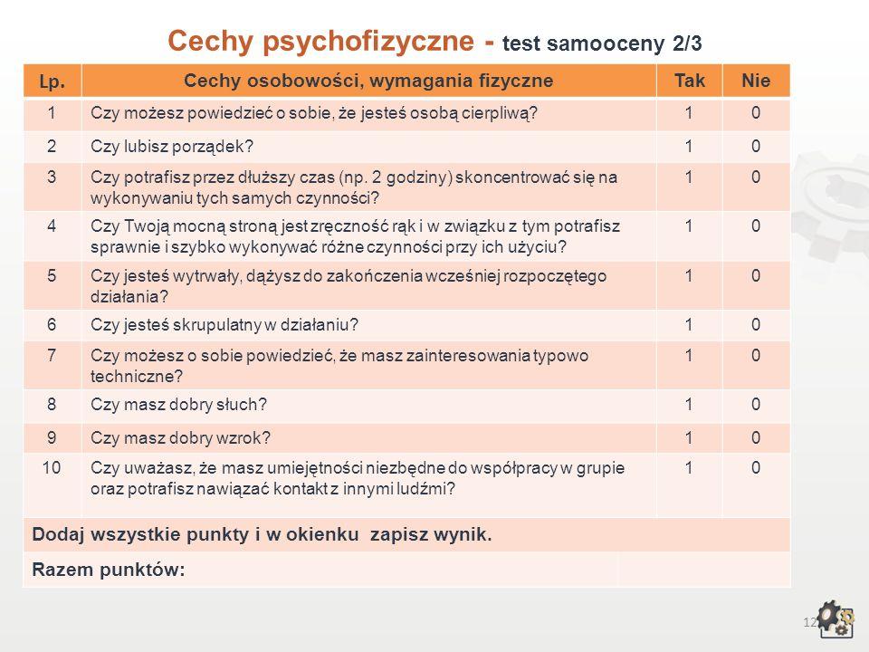 11 Cechy psychofizyczne Test samooceny 1/3 Decydując się na podjęcie pracy w zawodzie mechanik automatyki i urządzeń precyzyjnych, powinniśmy przede w