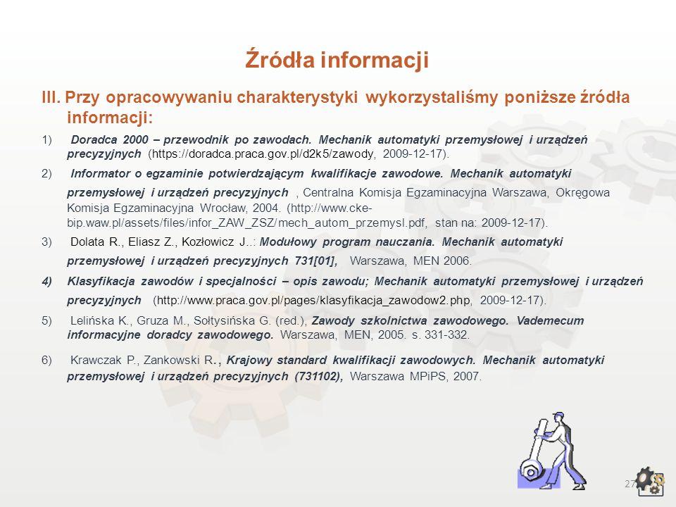 26 Źródła informacji I. Interesujące źródła informacji: Jeżeli chcesz pogłębić wiedzę na temat świata zawodów, możliwości kształcenia, to zachęcamy do