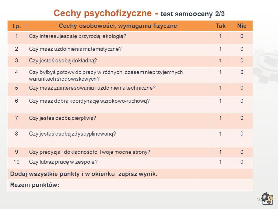 9 Cechy psychofizyczne Test samooceny 1/3 Decydując się na podjęcie pracy w zawodzie technik ochrony środowiska, powinniśmy przede wszystkim wziąć pod