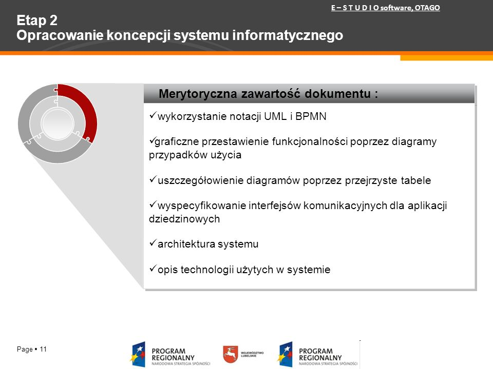 Page 11 Etap 2 Opracowanie koncepcji systemu informatycznego Merytoryczna zawartość dokumentu : wykorzystanie notacji UML i BPMN graficzne przestawien