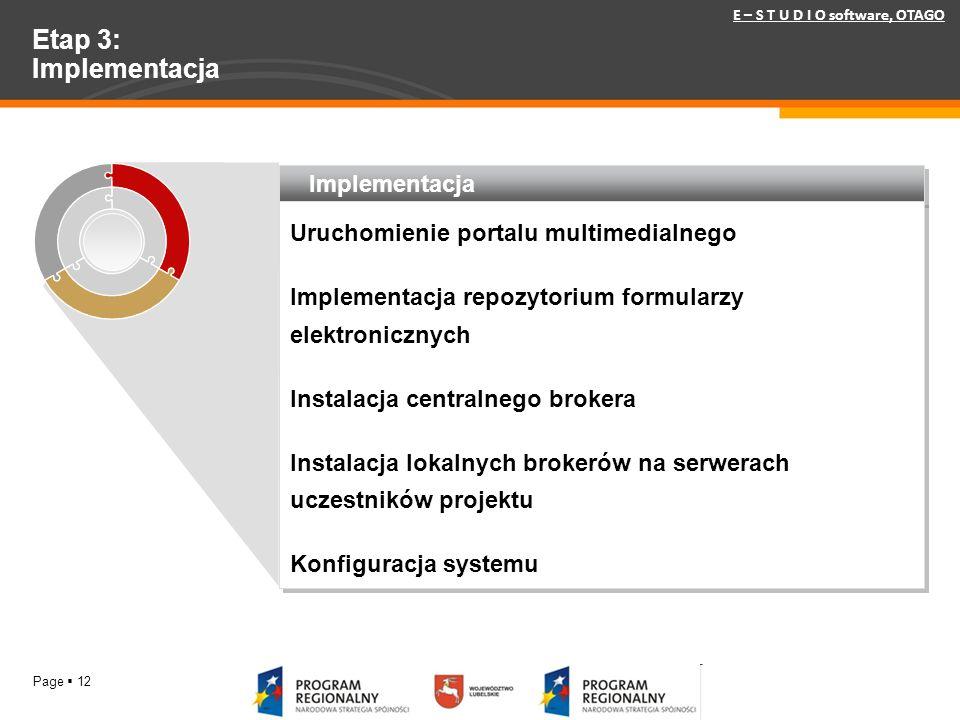 Page 12 Etap 3: Implementacja Implementacja Uruchomienie portalu multimedialnego Implementacja repozytorium formularzy elektronicznych Instalacja cent
