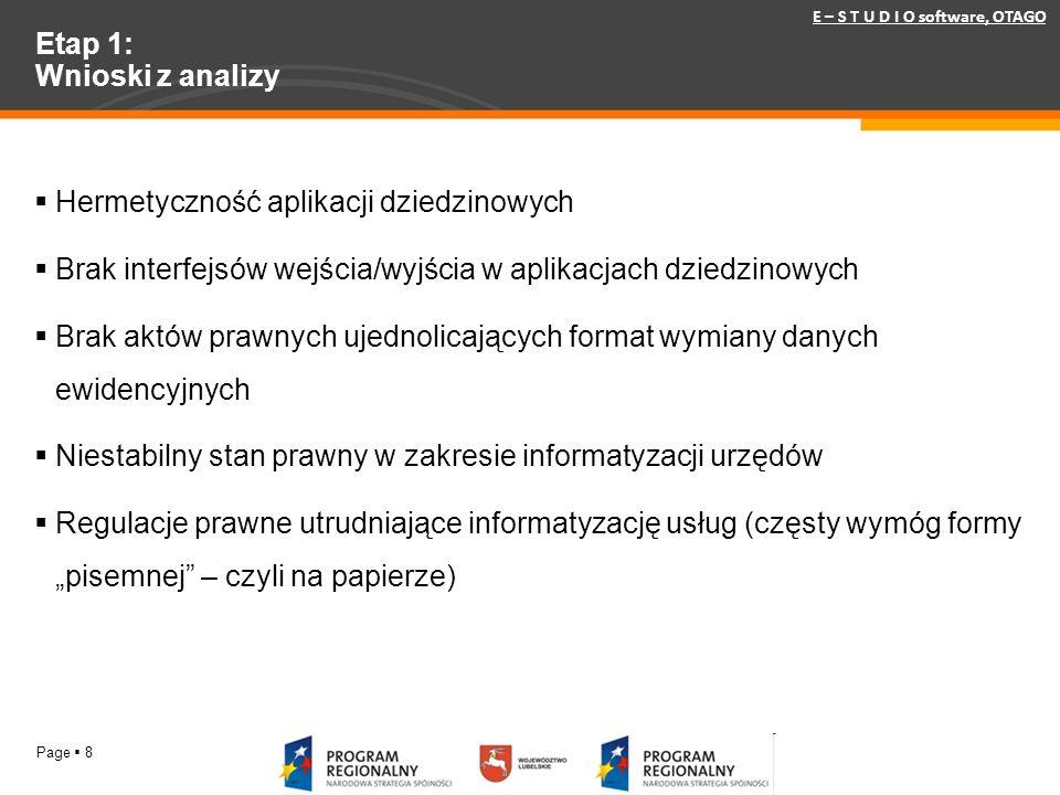Page 8 Etap 1: Wnioski z analizy E – S T U D I O software, OTAGO Hermetyczność aplikacji dziedzinowych Brak interfejsów wejścia/wyjścia w aplikacjach