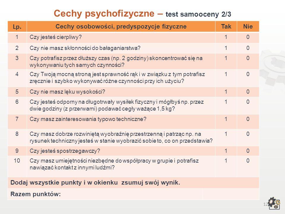 11 Cechy psychofizyczne Test samooceny 1/3 Decydując się na podjęcie pracy w zawodzie montera kadłubów okrętowych, powinniśmy przede wszystkim wziąć p