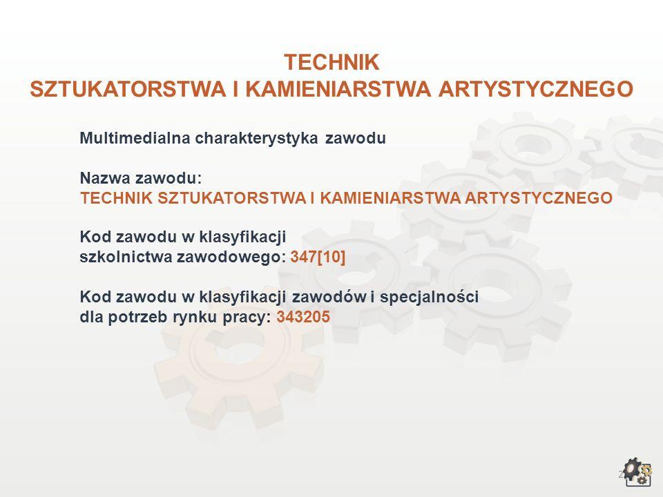 2 TECHNIK SZTUKATORSTWA I KAMIENIARSTWA ARTYSTYCZNEGO Multimedialna charakterystyka zawodu Nazwa zawodu: TECHNIK SZTUKATORSTWA I KAMIENIARSTWA ARTYSTYCZNEGO Kod zawodu w klasyfikacji szkolnictwa zawodowego: 347[10] Kod zawodu w klasyfikacji zawodów i specjalności dla potrzeb rynku pracy: 343205