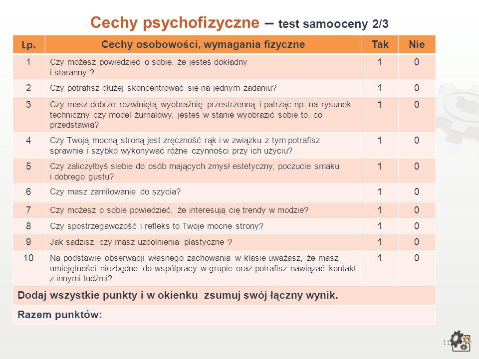 10 Cechy psychofizyczne Test samooceny 1/3 Decydując się na podjęcie pracy w zawodzie krawca, powinniśmy przede wszystkim wziąć pod uwagę swoje możliw