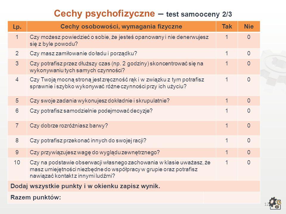 11 Cechy psychofizyczne Test samooceny 1/3 Decydując się na podjęcie pracy w zawodzie technika usług kosmetycznych, powinniśmy przede wszystkim wziąć pod uwagę swoje możliwości, cechy osobowości, temperamentu, swoje zainteresowania, uzdolnienia i wymagania fizyczne.