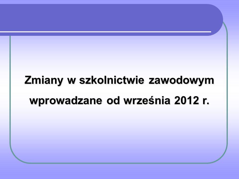 Zmiany w szkolnictwie zawodowym wprowadzane od września 2012 r.