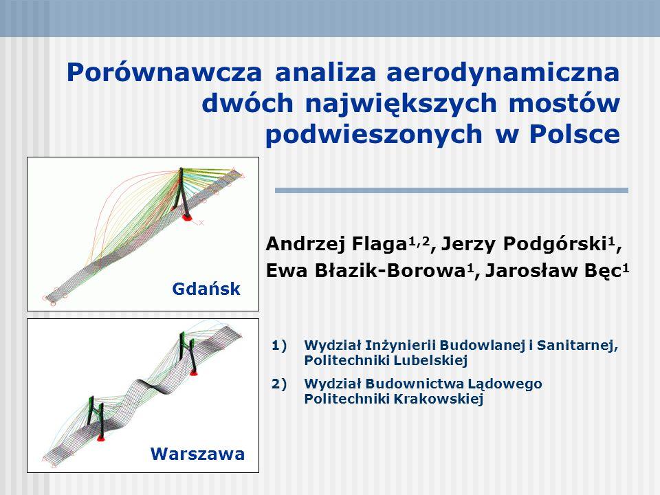 Porównawcza analiza aerodynamiczna dwóch największych mostów podwieszonych w Polsce Andrzej Flaga 1,2, Jerzy Podgórski 1, Ewa Błazik-Borowa 1, Jarosła