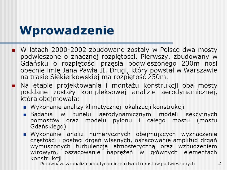 Porównawcza analiza aerodynamiczna dwóch mostów podwieszonych 2 Wprowadzenie W latach 2000-2002 zbudowane zostały w Polsce dwa mosty podwieszone o zna