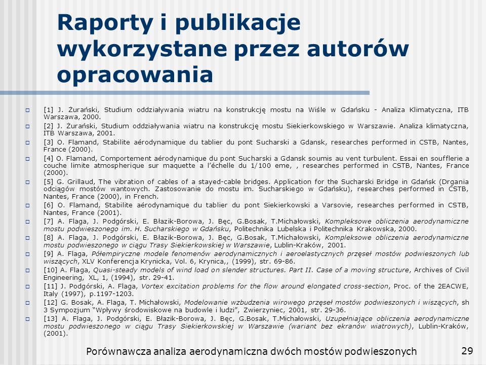 Porównawcza analiza aerodynamiczna dwóch mostów podwieszonych 29 Raporty i publikacje wykorzystane przez autorów opracowania [1] J. Żurański, Studium