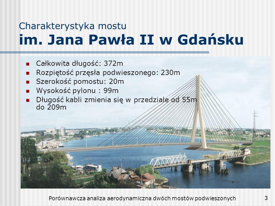 Porównawcza analiza aerodynamiczna dwóch mostów podwieszonych 3 Charakterystyka mostu im. Jana Pawła II w Gdańsku Całkowita długość: 372m Rozpiętość p