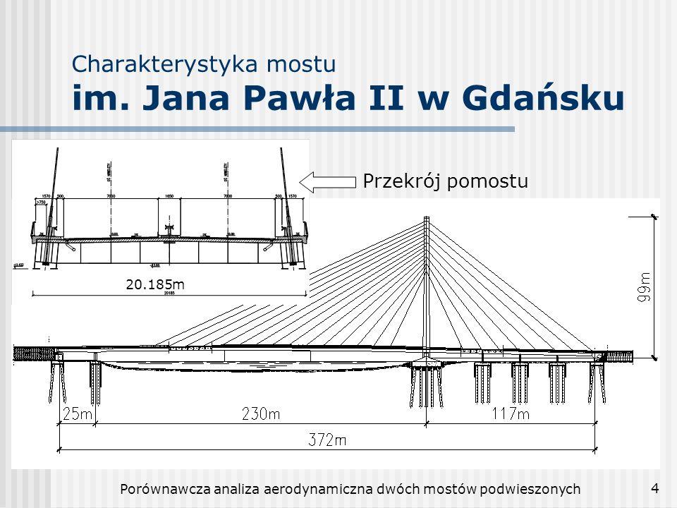 Porównawcza analiza aerodynamiczna dwóch mostów podwieszonych 5 Charakterystyka mostu Siekierkowskiego w Warszawie Całkowita długość: 500m Rozpiętość przęsła podwieszonego: 250m Szerokość pomostu: 33m Dwa pylony o wysokości: 90m Długość kabli zmienia się od 53m do 134m