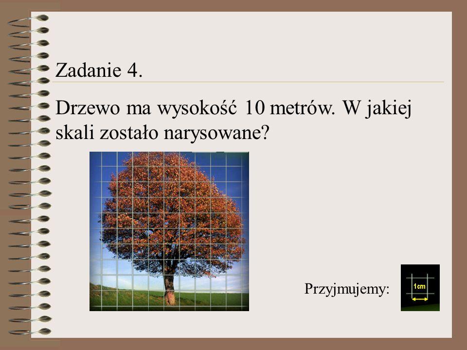 Zadanie 4. Drzewo ma wysokość 10 metrów. W jakiej skali zostało narysowane? Przyjmujemy: