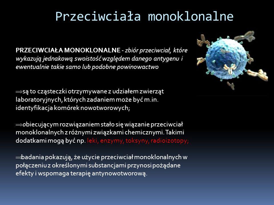 Przeciwciała monoklonalne PRZECIWCIAŁA MONOKLONALNE - zbiór przeciwciał, które wykazują jednakową swoistość względem danego antygenu i ewentualnie takie samo lub podobne powinowactwo są to cząsteczki otrzymywane z udziałem zwierząt laboratoryjnych, których zadaniem może być m.in.