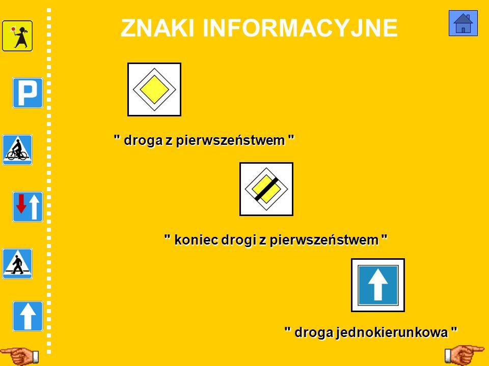 Oto znaki informacyjne Jakiego są koloru? Jaki mają kształt? Jakie informacje przekazują?