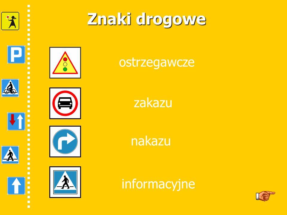 Znaki drogowe ostrzegawcze zakazu nakazu informacyjne