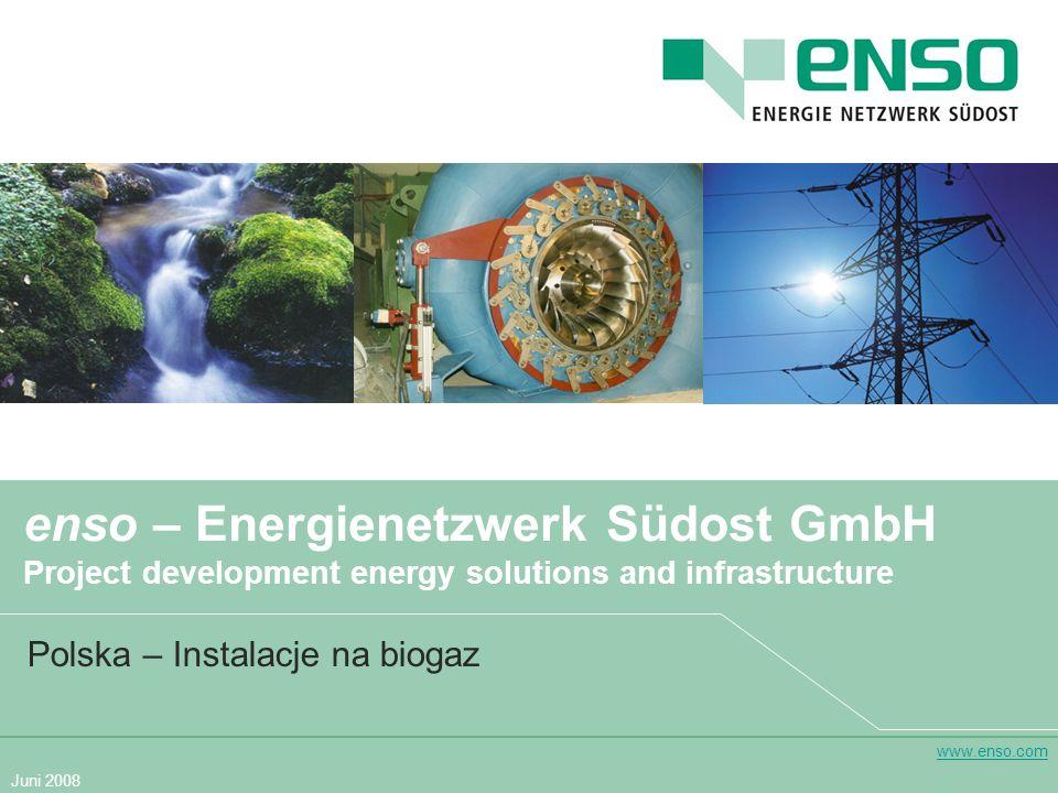 www.enso.com Juni 2008 enso – Energienetzwerk Südost GmbH Project development energy solutions and infrastructure Polska – Instalacje na biogaz