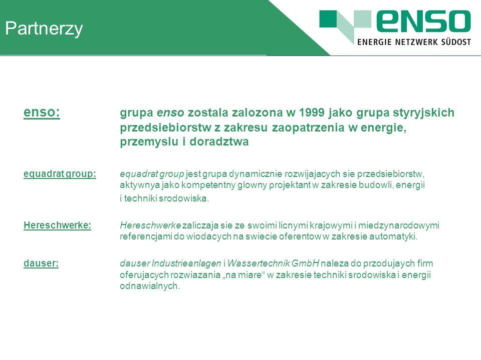enso: grupa enso zostala zalozona w 1999 jako grupa styryjskich przedsiebiorstw z zakresu zaopatrzenia w energie, przemyslu i doradztwa equadrat group:equadrat group jest grupa dynamicznie rozwijajacych sie przedsiebiorstw, aktywnya jako kompetentny glowny projektant w zakresie budowli, energii i techniki srodowiska.