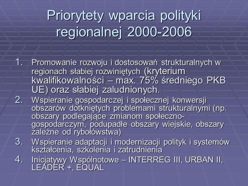 Priorytety wparcia polityki regionalnej 2000-2006 1. Promowanie rozwoju i dostosowań strukturalnych w regionach słabiej rozwiniętych (kryterium kwalif
