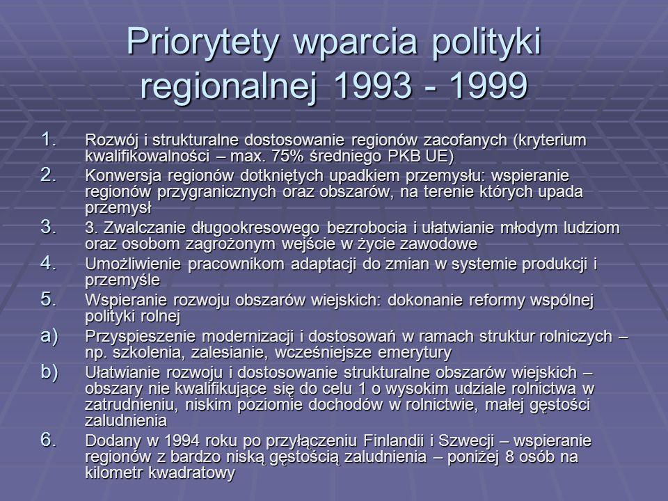 Priorytety wparcia polityki regionalnej 1993 - 1999 1. Rozwój i strukturalne dostosowanie regionów zacofanych (kryterium kwalifikowalności – max. 75%