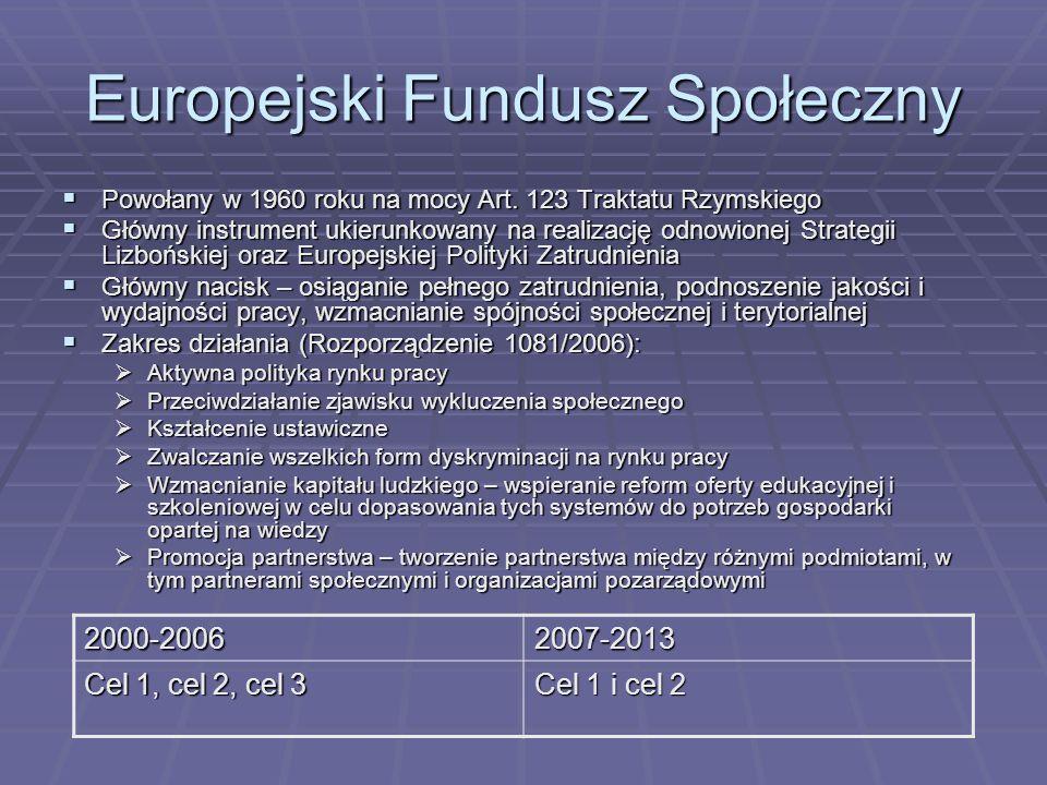 Europejski Fundusz Społeczny Powołany w 1960 roku na mocy Art. 123 Traktatu Rzymskiego Powołany w 1960 roku na mocy Art. 123 Traktatu Rzymskiego Główn