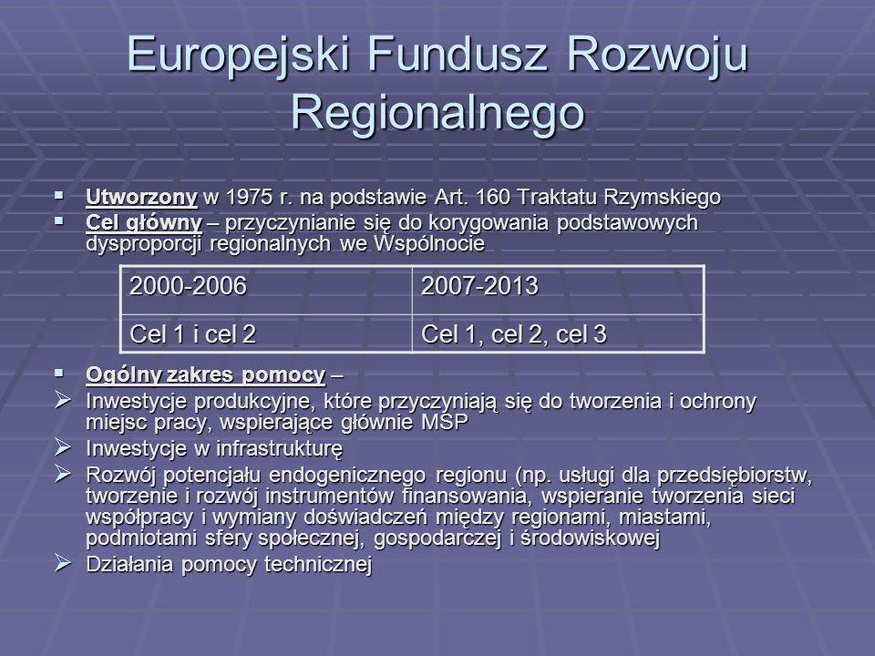 Europejski Fundusz Rozwoju Regionalnego Utworzony w 1975 r. na podstawie Art. 160 Traktatu Rzymskiego Utworzony w 1975 r. na podstawie Art. 160 Trakta
