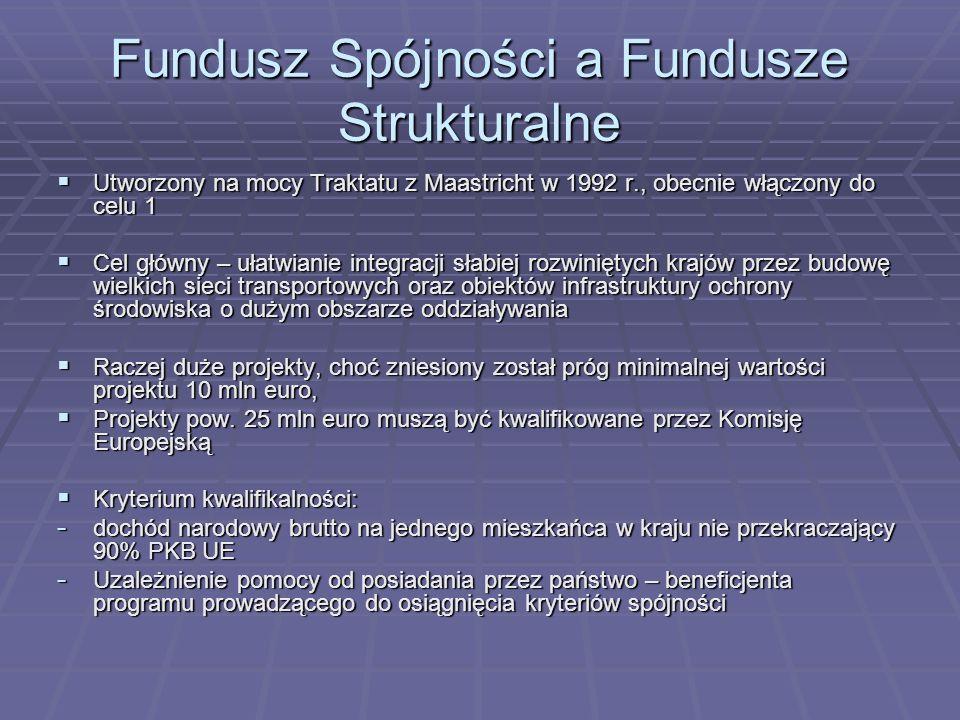 Fundusz Spójności a Fundusze Strukturalne Utworzony na mocy Traktatu z Maastricht w 1992 r., obecnie włączony do celu 1 Utworzony na mocy Traktatu z M