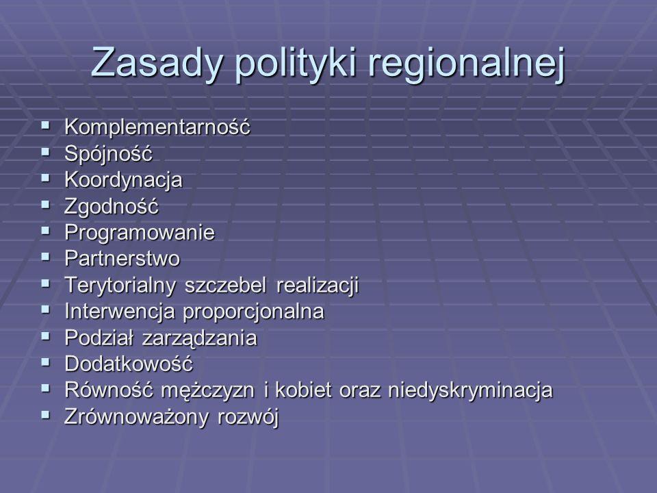 Zasady polityki regionalnej Komplementarność Komplementarność Spójność Spójność Koordynacja Koordynacja Zgodność Zgodność Programowanie Programowanie